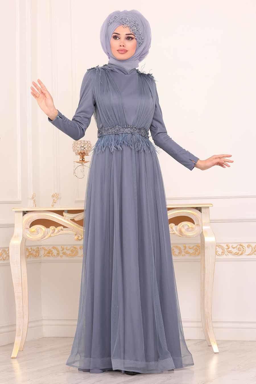Tesetturlu Abiye Elbise Puskullu Indigo Mavisi Tesettur Abiye Elbise 3965im The Dress Elbise Moda Stilleri