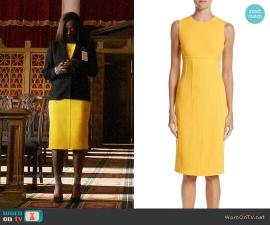 dfa6e3b7f37 Annalise s yellow dress and black blazer on How to Get Away with Murder.  Outfit Details