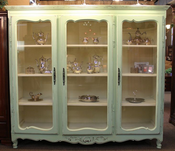 Large French Country Painted Bookcase Or Display Cabinet With 3 Glass Doors Fixed Interior