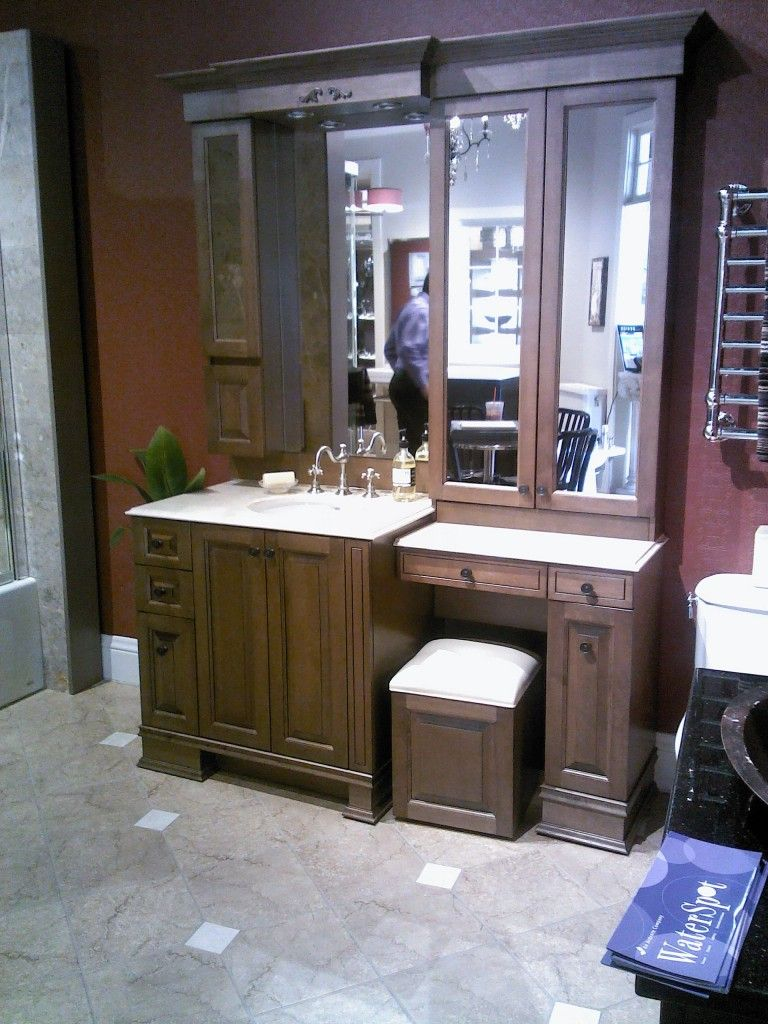 Makeup vanity for bathroom - Bathroom Vanity With Makeup Vanity Attached Makeup Mirrors Bathroom