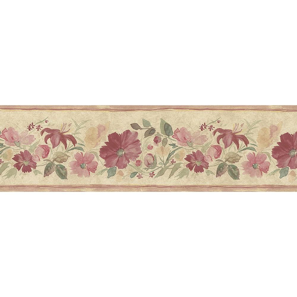 Norwall Fluted Floral Wallpaper Border Pink Tan Green