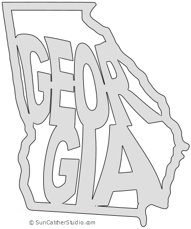 Georgia Map Outline Printable State Shape Stencil Pattern Georgia Map Georgia Outline Map Outline