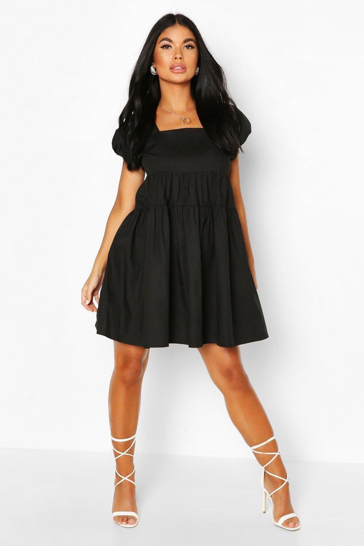 Petite Puff Sleeve Open Back Poplin Dress Boohoo Poplin Dress Latest Casual Dress Dress Fabric [ 1500 x 1000 Pixel ]