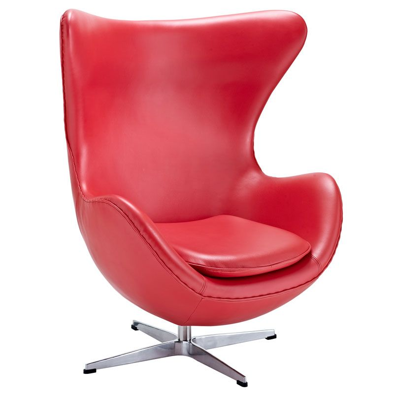 Modern Red Leather Swivel Lounge Chair Inspired By Arne Jacobsen Egg Chair