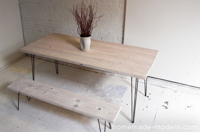 Elegant HomeMade Modern DIY EP3 1 White Washed 2x12 Table with Hairpin Legs Ideas - Inspirational Hairpin Furniture Legs Picture