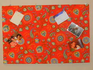 DIY Fabric covered bulletin board! Perfect for a funky office/kid's room/classroom/etc!
