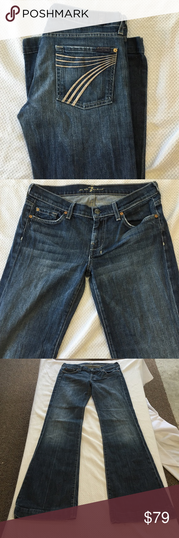 """7FAM DOJO JEANS!! Great condition, just a tad bit of wear on the BACKS of the BOTTOMS, not even a flaw! These have pale pink """"7's"""" on the back pockets! Come get them cowgirls and livestock showers!! Size 28. Inseam 32 7 for all Mankind Jeans Flare & Wide Leg"""
