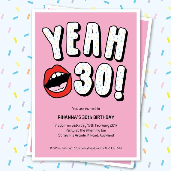 30th Birthday Invitation Sassy Yeah 30 Lips Editable Funny