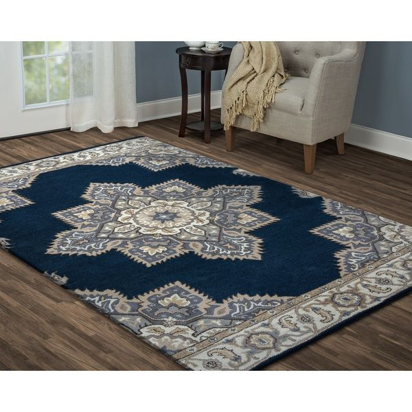 Arden Loft Crown Way Indigo Blue Shades Of Navy Oriental Hand Tufted Wool Area Rug 5 X 8