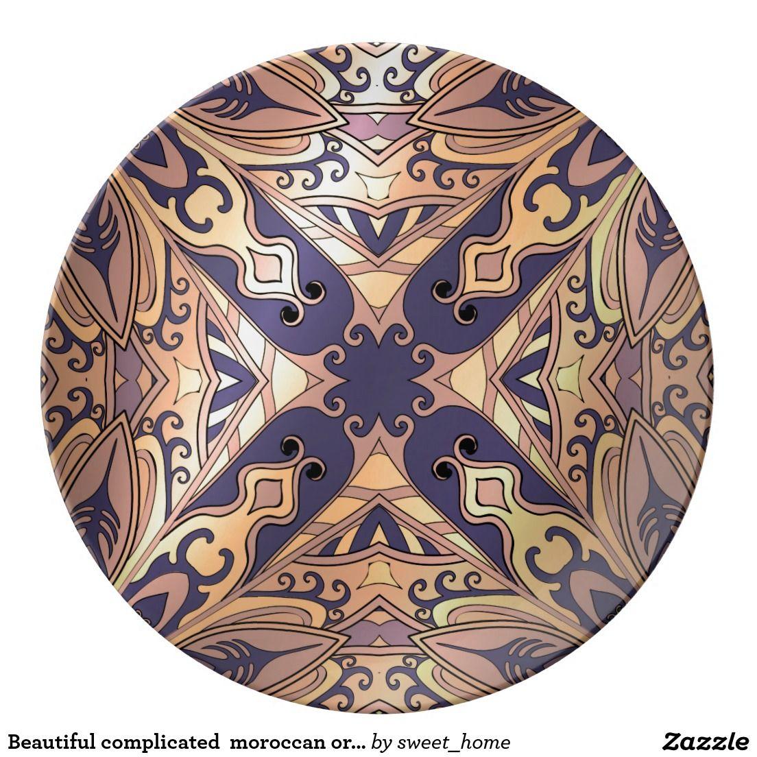 Beautiful complicated  moroccan ornament porcelain plate make interior unique and add aesthetics sense. Ornament create in oriental tradition. #Home #decor #Room #Interior #decorating #Idea #Styles