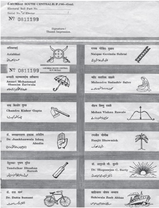 Sample of an Indian ballot | Ballot design | Pinterest
