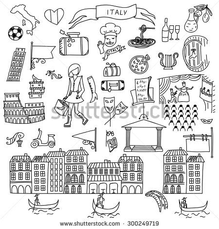 Set Of Italy Icons Doodle Hand Drawn Vector Illustration Stock