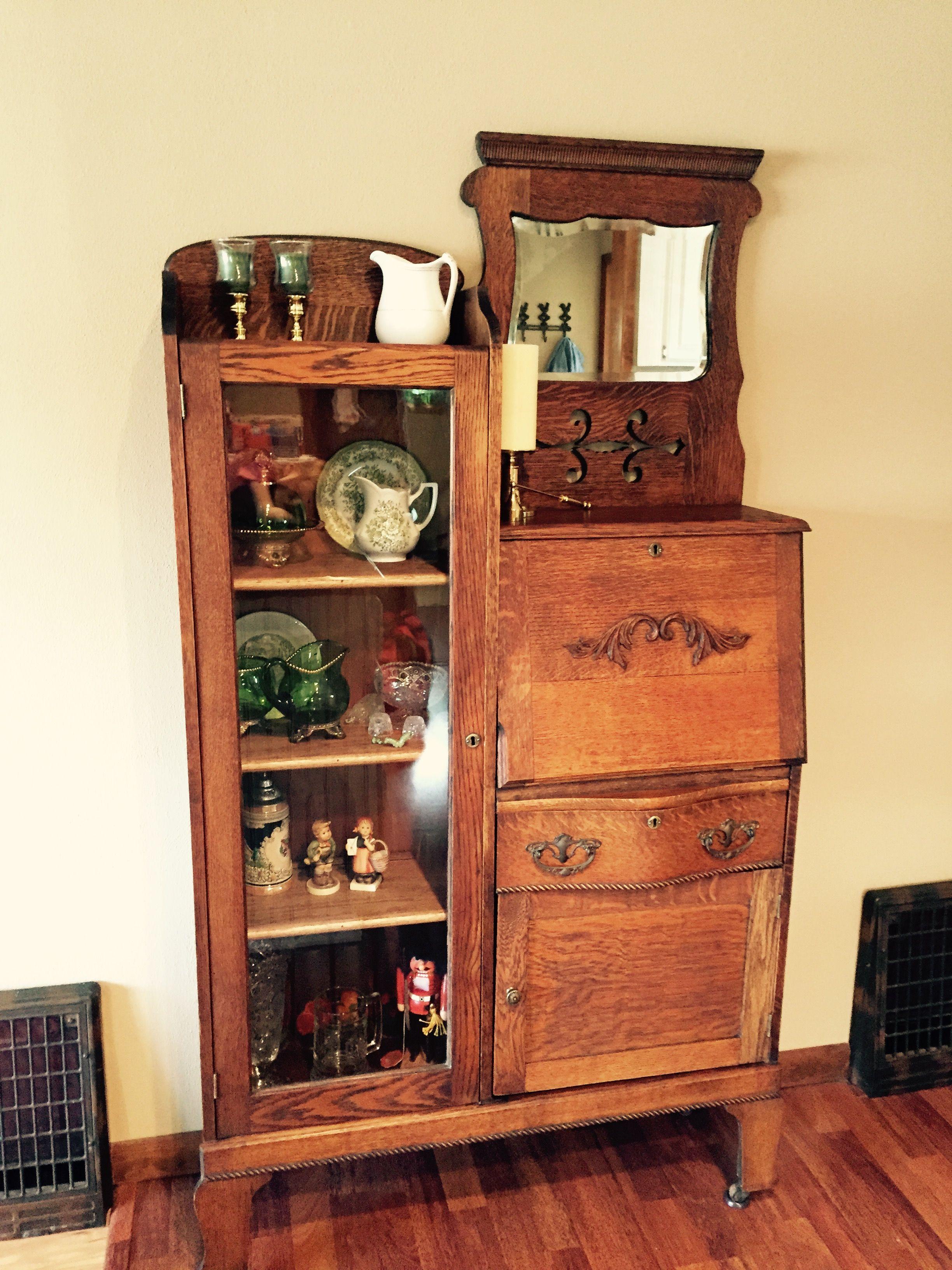 Antique oak secretary  Baker Furniture Co  Of Allegan  Michigan  Rescued  and restored. Antique oak secretary  Baker Furniture Co  Of Allegan  Michigan