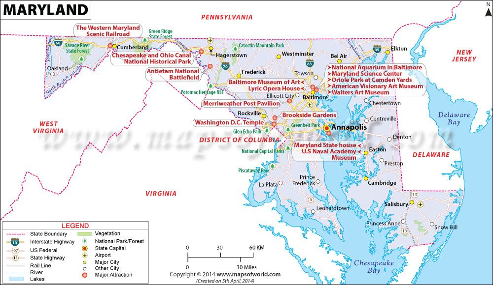 Map Of Maryland Maryland Map Md State