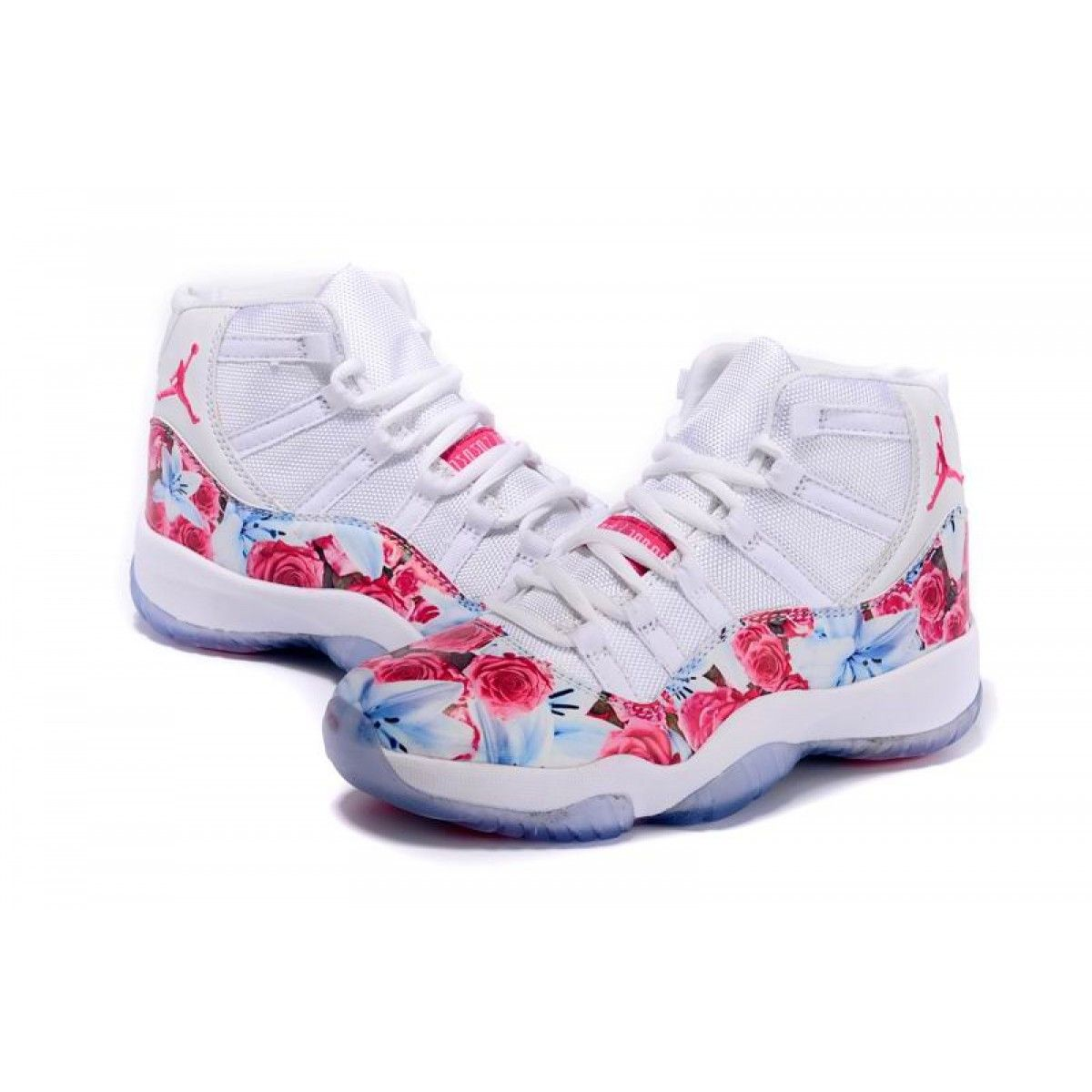 Womens Air Jordan 11 Floral Vivid White/Pink Shoes