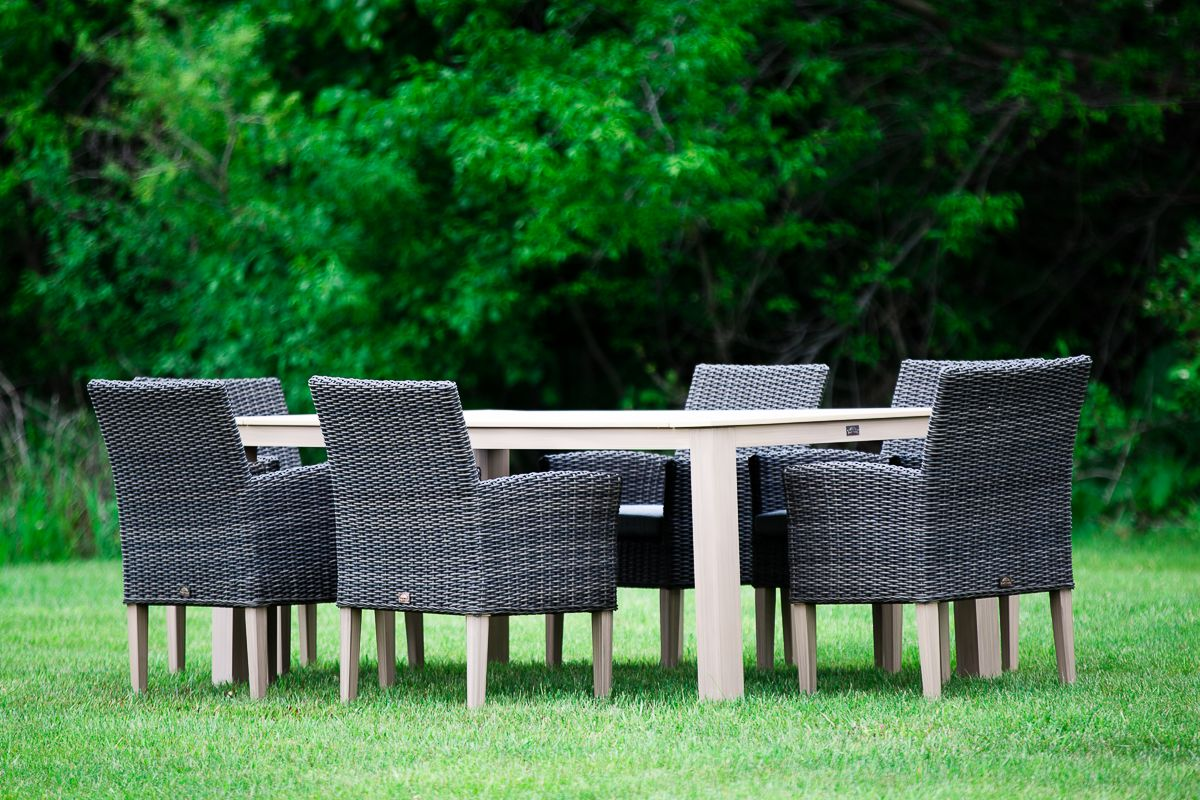 2nd Shade 7 Piece Outdoor Wicker and Composite Dining Set ...
