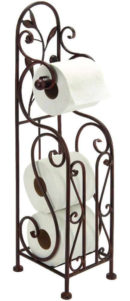 d106d364966969 Free Standing Toilet Paper Holder Tissue Roll Stand Bronze Bathroom  Organizer #Deco