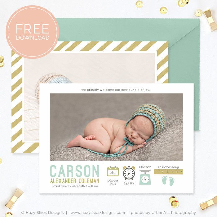 Free Birth Announcement Template Photoshop Photography  Photoshop