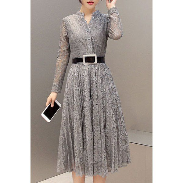 Stylish Stand-Up Collar Long Sleeve Belted Lace Dress For Women