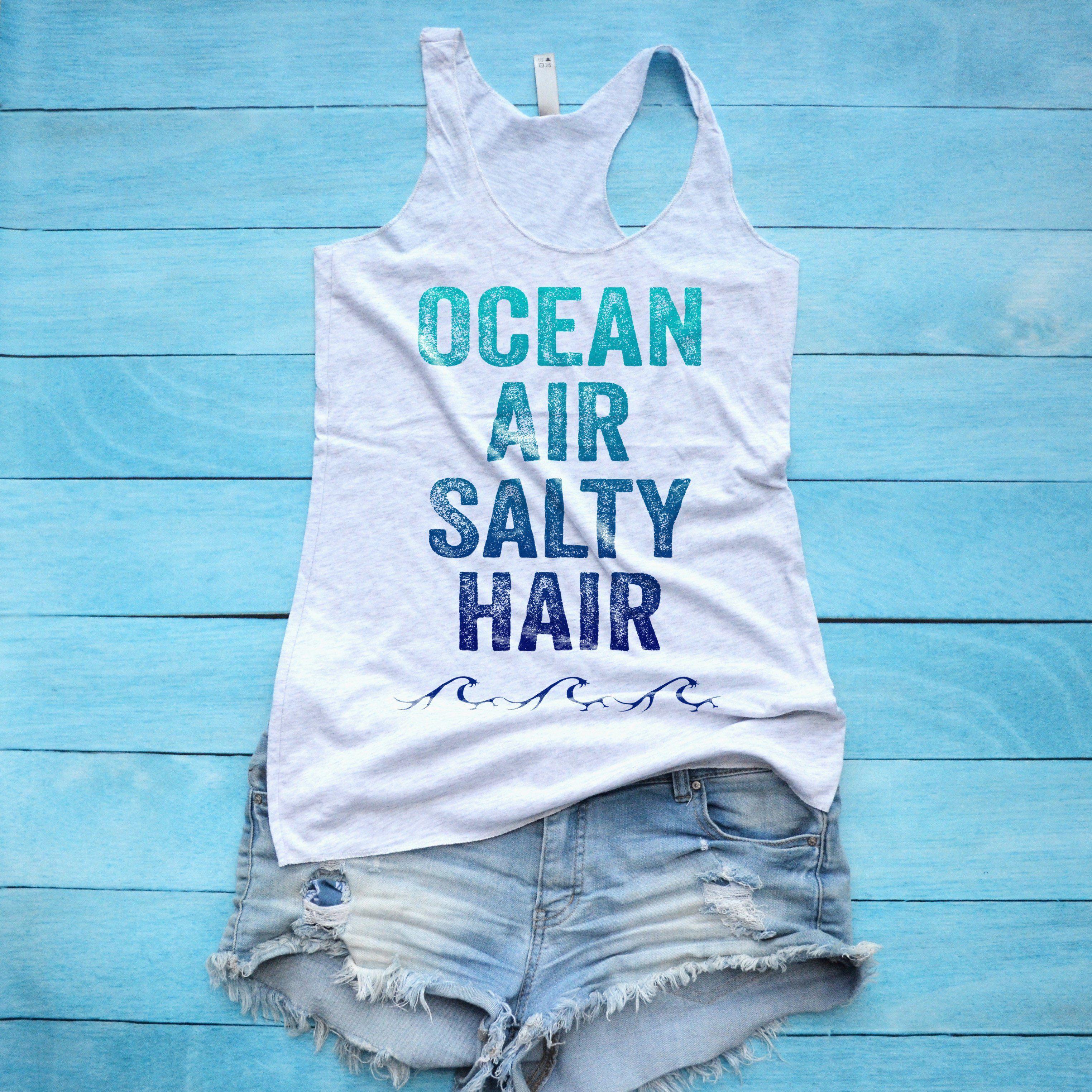 Ocean Air Salty Hair Tank Top - XS / Heather White