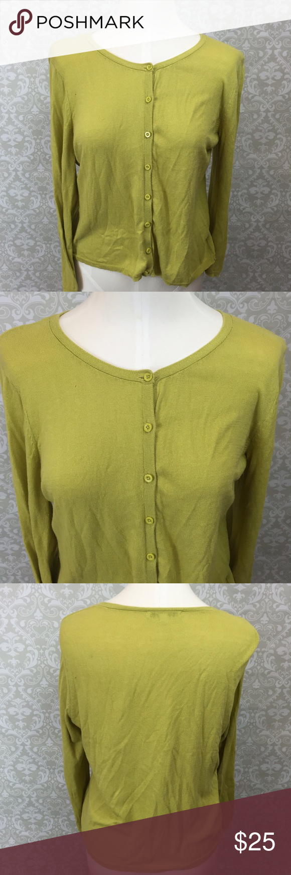 ⛱Cabi Women's Pea Green Classic Cardigan Cabi Women's Pea Green Classic Cardigan Size Large  This has been gently worn with no major flaws.  There may be signs of wash wear. Please refer to photos for more details. CAbi Tops