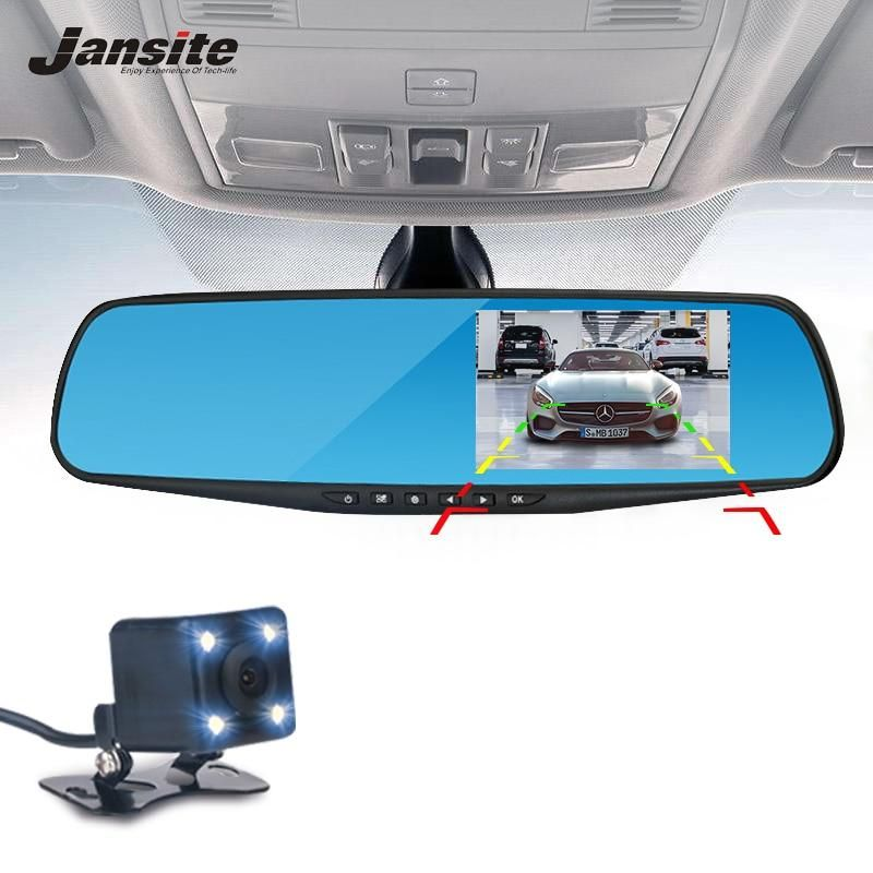 Jansite Car Camera Rearview Mirror Car Dvr Dual Lens Dash Cam Recorder Video Registrator Camcorder Fhd 1080p Night Vision Dash Camera Car Camera Action Camera