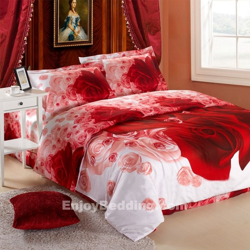 Romantic White And Red Antique Style Kumala Rose Print Bedding