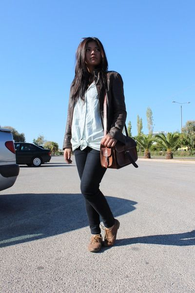 Light brown shoes dark brown jacket brown bag black pants light ...