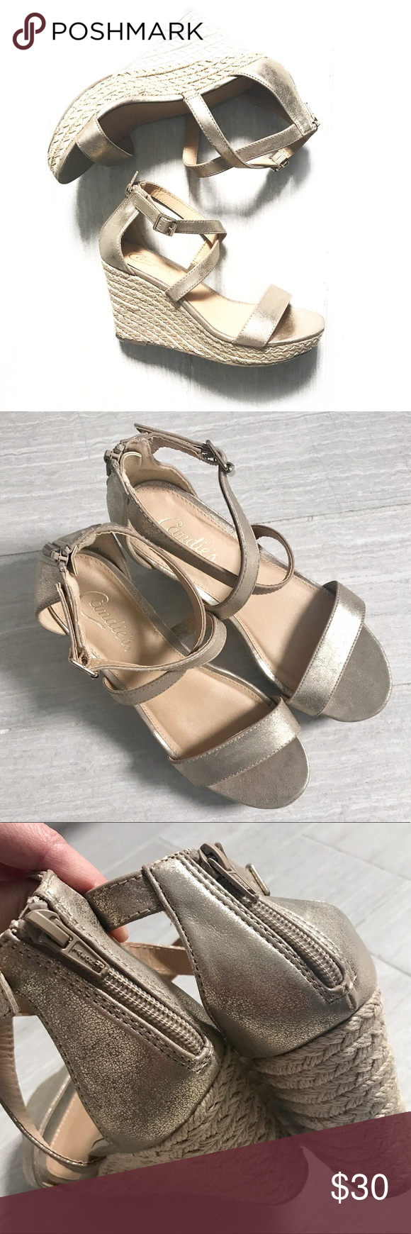 Candies Champagne Wedges Open Toe Strappy open toe wedges sandals, champagne gold color with beige heel. Zipper on back, buckle. Never worn! Candies size 7.5 medium. Candie's Shoes Wedges