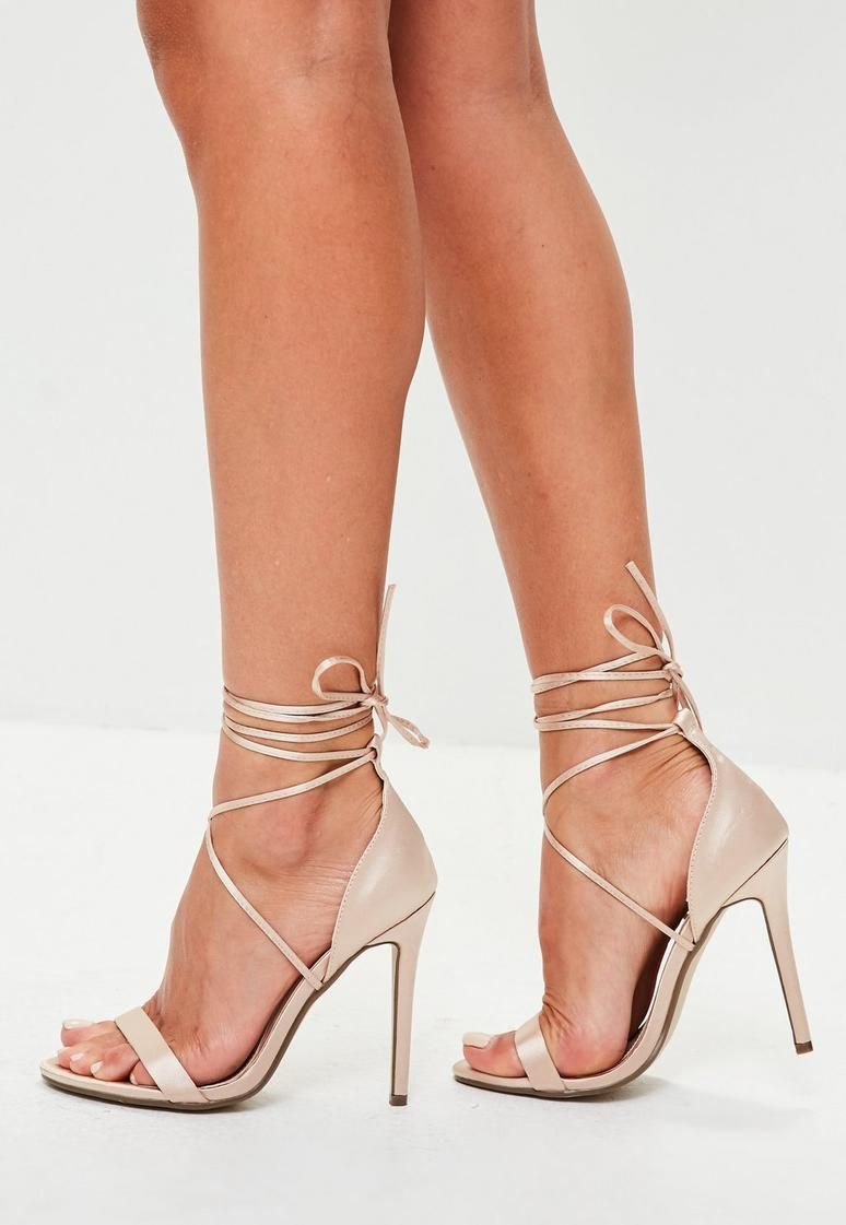 e1f158675f92 Nude Satin Lace Up Barely There Heels
