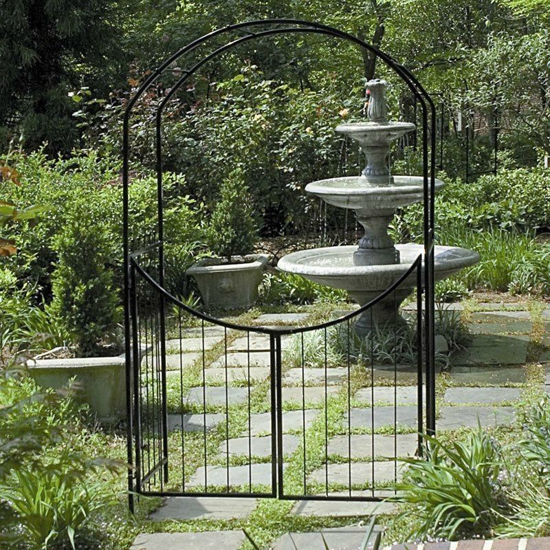 Garden Arbor Gate Steel Archway Trellis Wedding Arch Gated Path 8 Ft