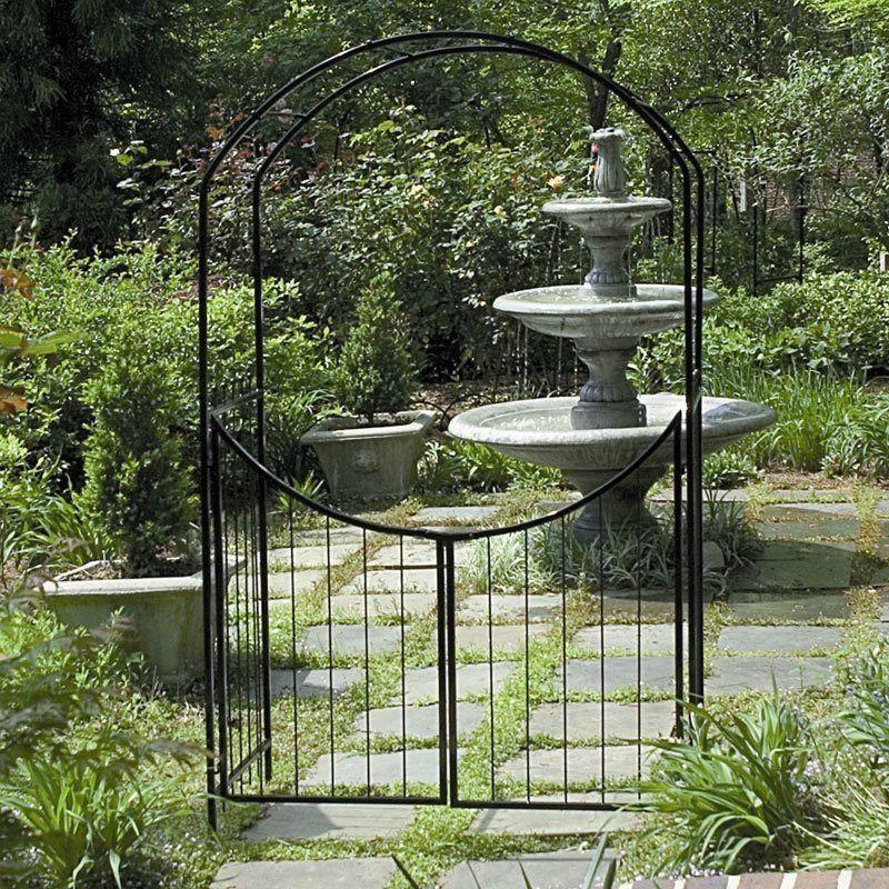 Garden Arbor Gate Steel Archway Trellis Wedding Arch Gated Path 8 Ft Yard  Patio #Gardman