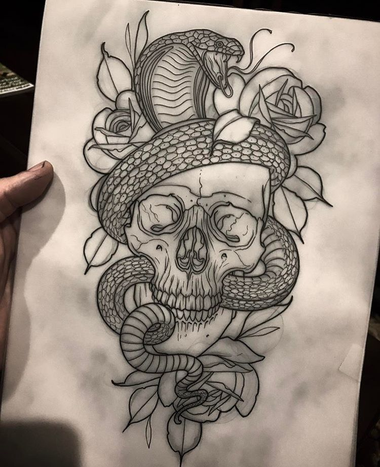 Skull and snakes Skull tattoo design, Tattoos, Skull tattoo