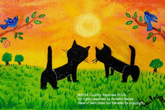 Cat Folkart Acrylic Fine Art Print Good by CountrySquirrelsRUS, $11.00
