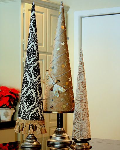 These chic Christmas trees are poster board cones wrapped in fabric!