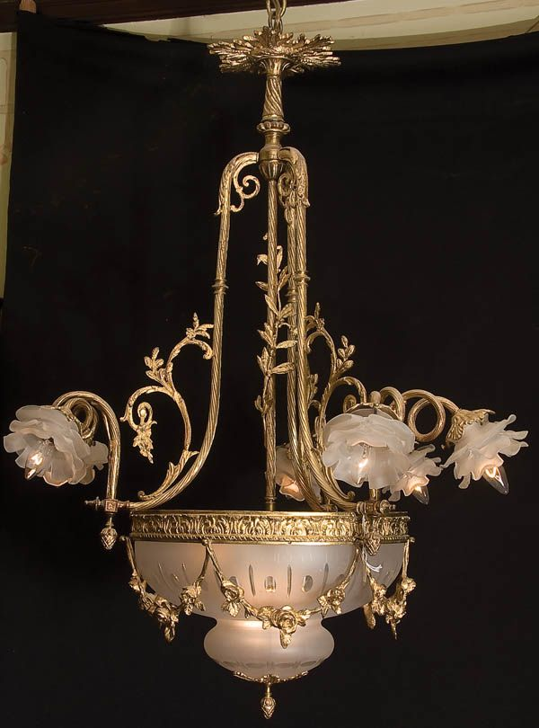 A french louis xvi style gilt bronze cut and acid finished glass gilt bronze cut and acid finished glass chandelier 19th century with floriform art glass shades and inverted mushroom shape cut and etched glass shade mozeypictures Image collections
