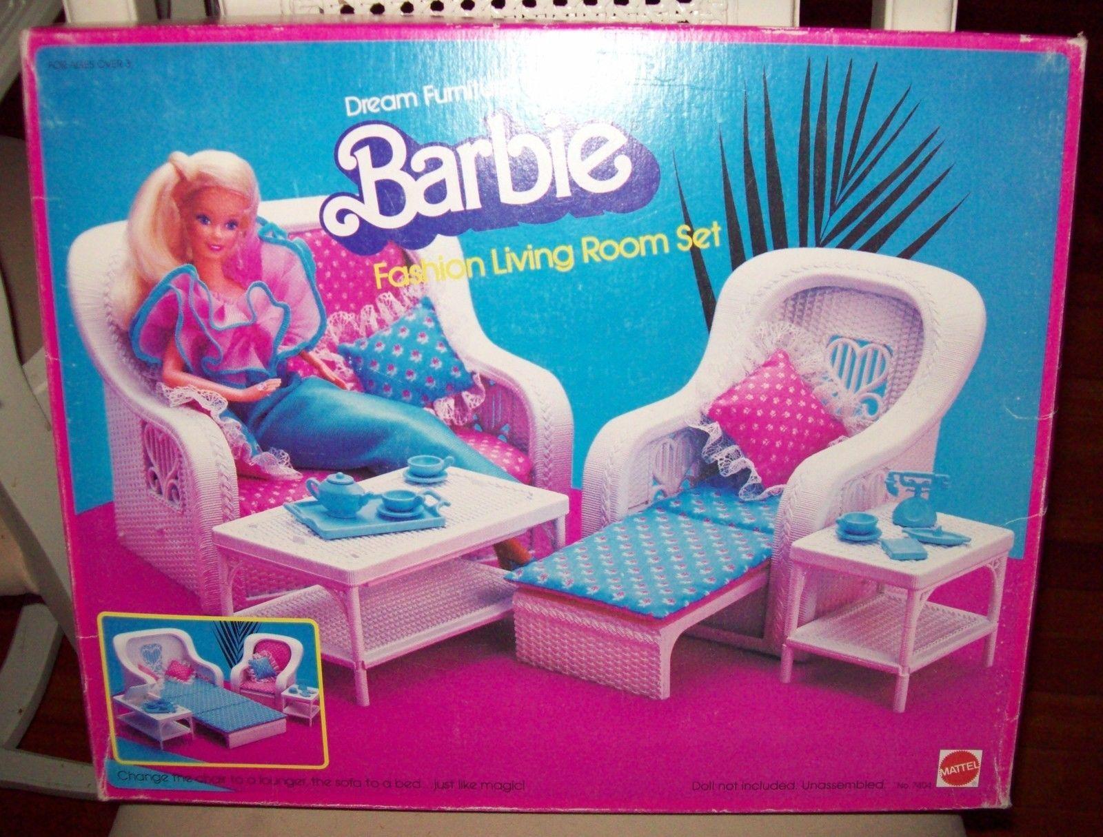 1983 Barbie Dream Furniture Wicker Look Livingroom Set
