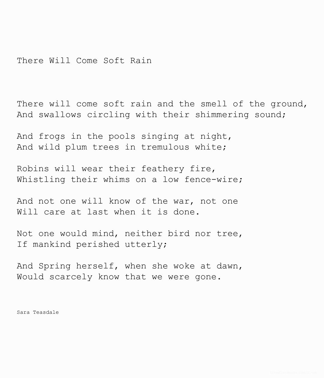 sara teasdale there will come soft rains analysis