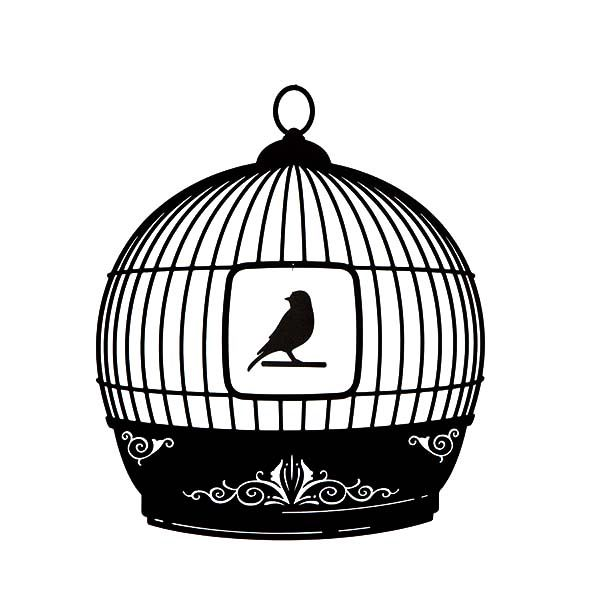 Beautiful Bird Cage Silhouette Coloring Pages