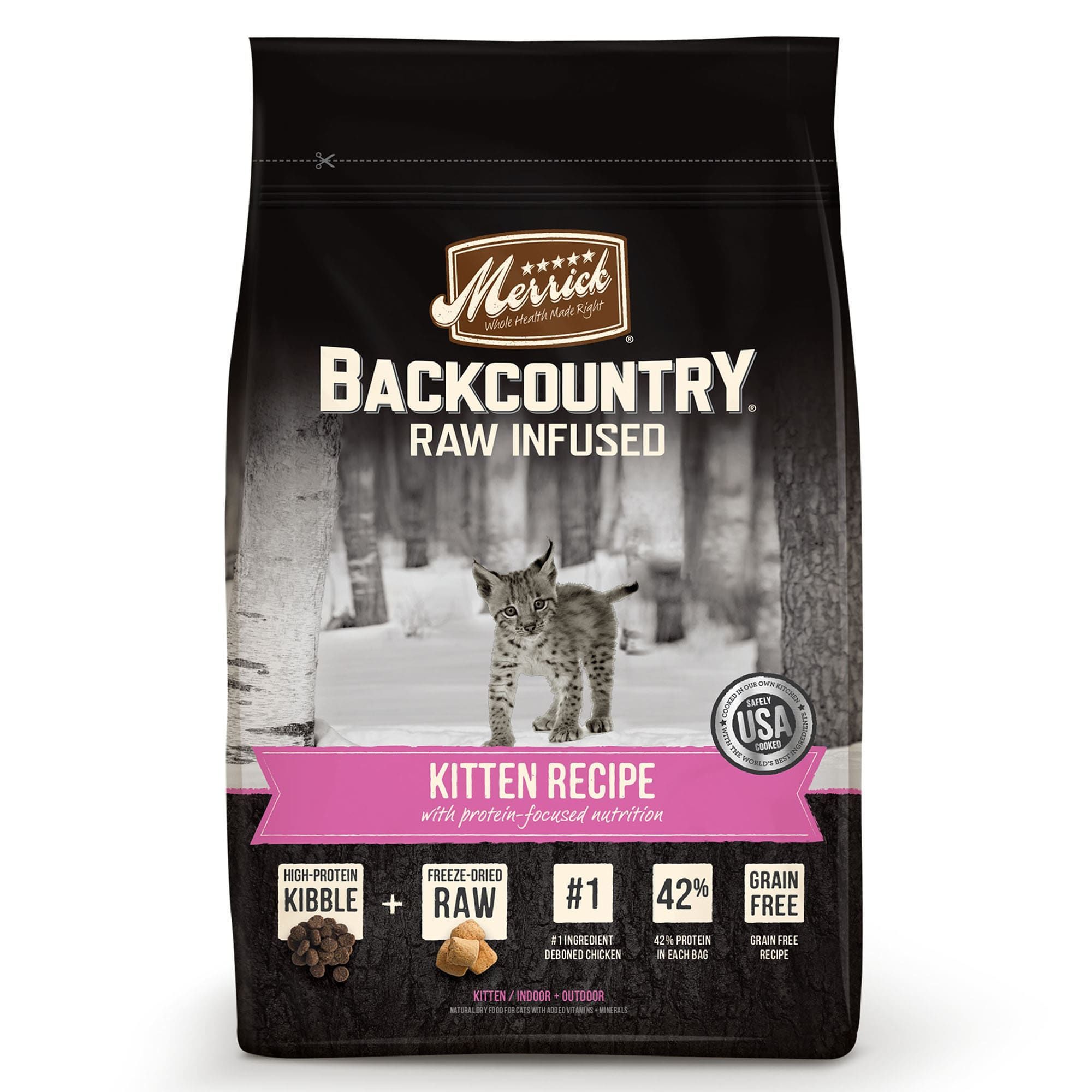 Merrick Backcountry Grain Free Raw Infused Kitten Recipe Dry Cat Food 3 Lbs In 2020 Dry Cat Food Grain Free Cat Food