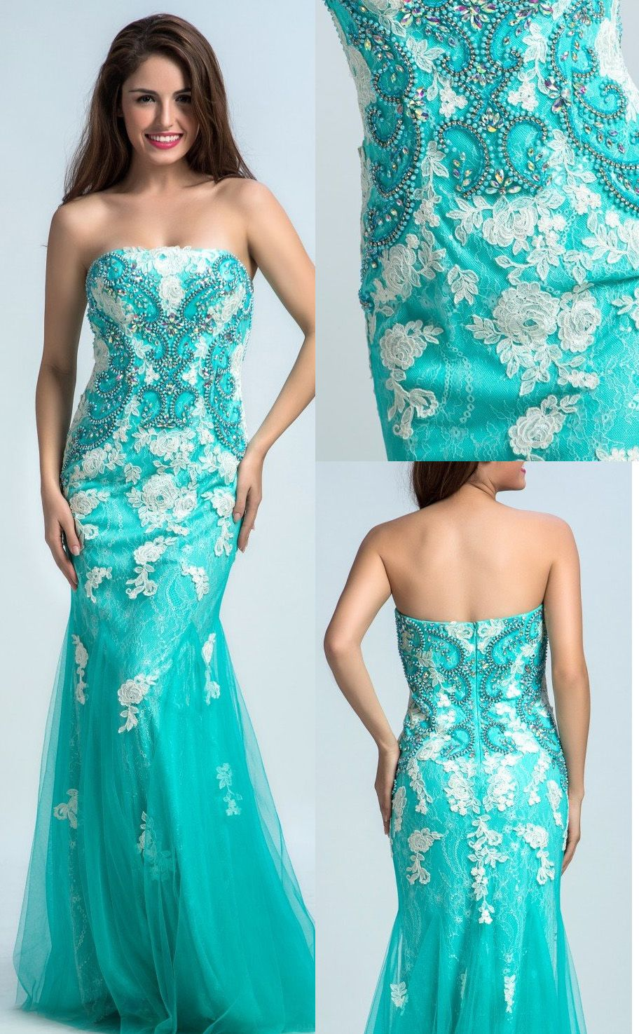 Sleeveless dresses long light blue prom evening dresses with lace