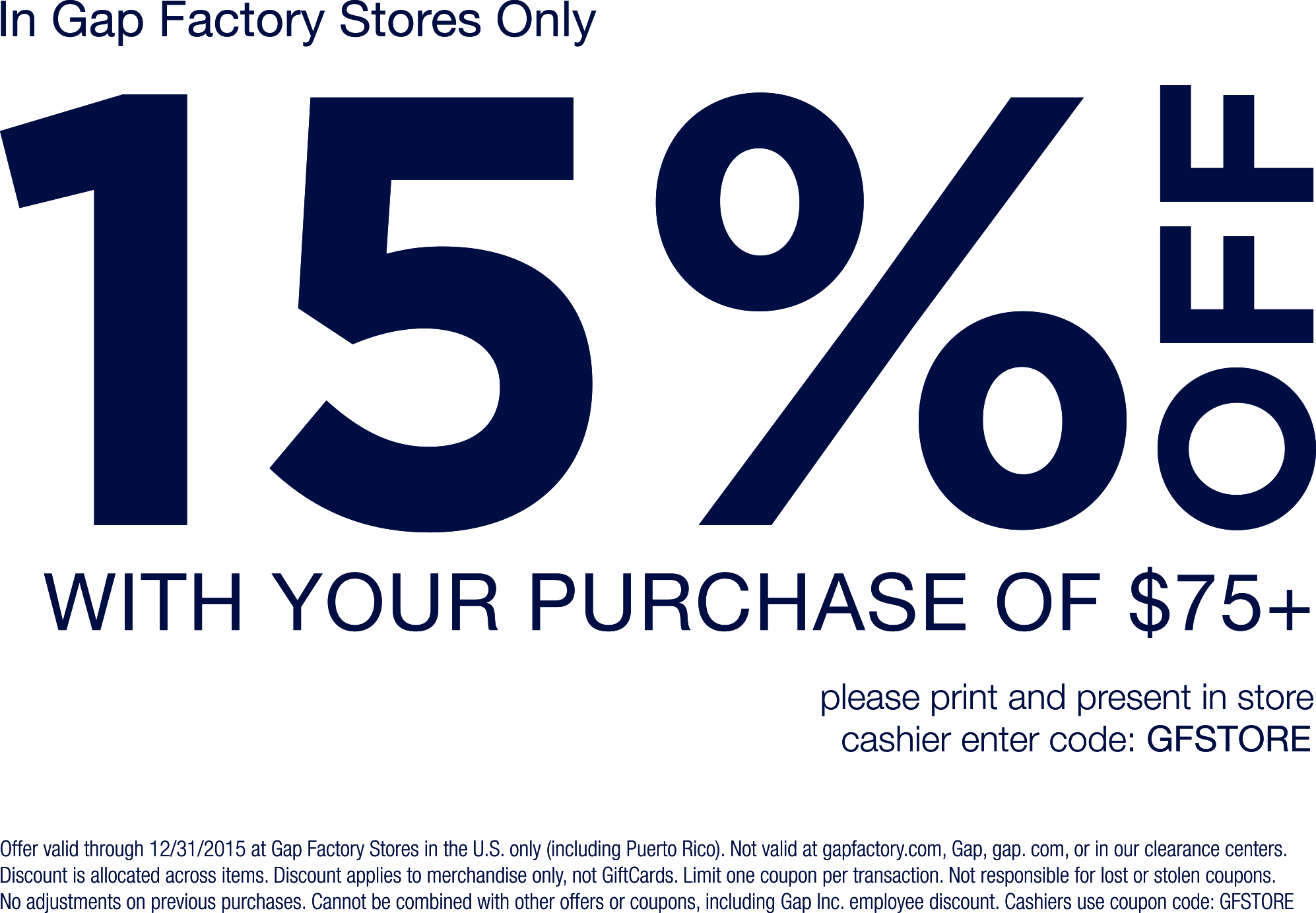 image relating to Gap Factory Printable Coupon named Pinned November 5th: 15% off $75 at Hole #Manufacturing unit #coupon as a result of