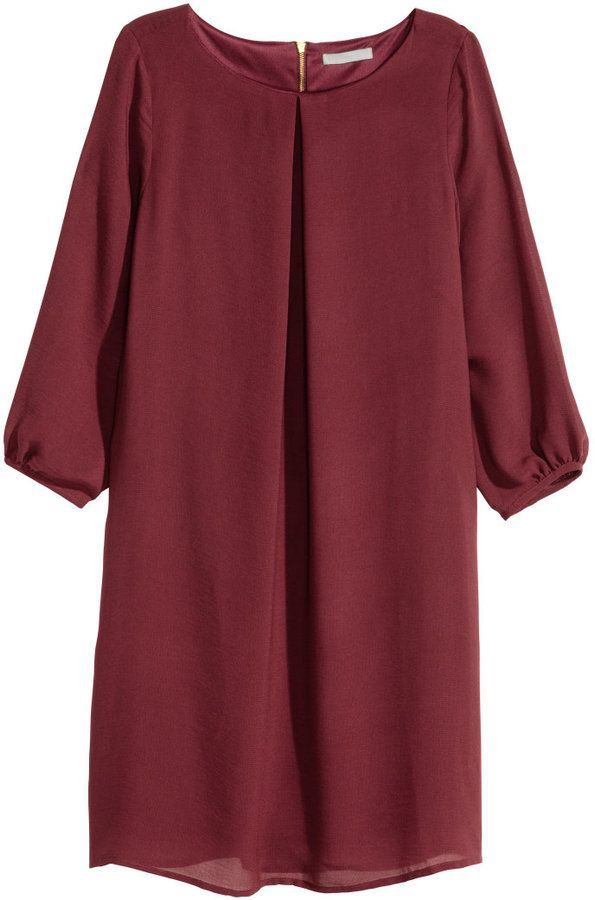 H&M Chiffon Dress - Dark red   Cocktailkleid rot, Rotes ...
