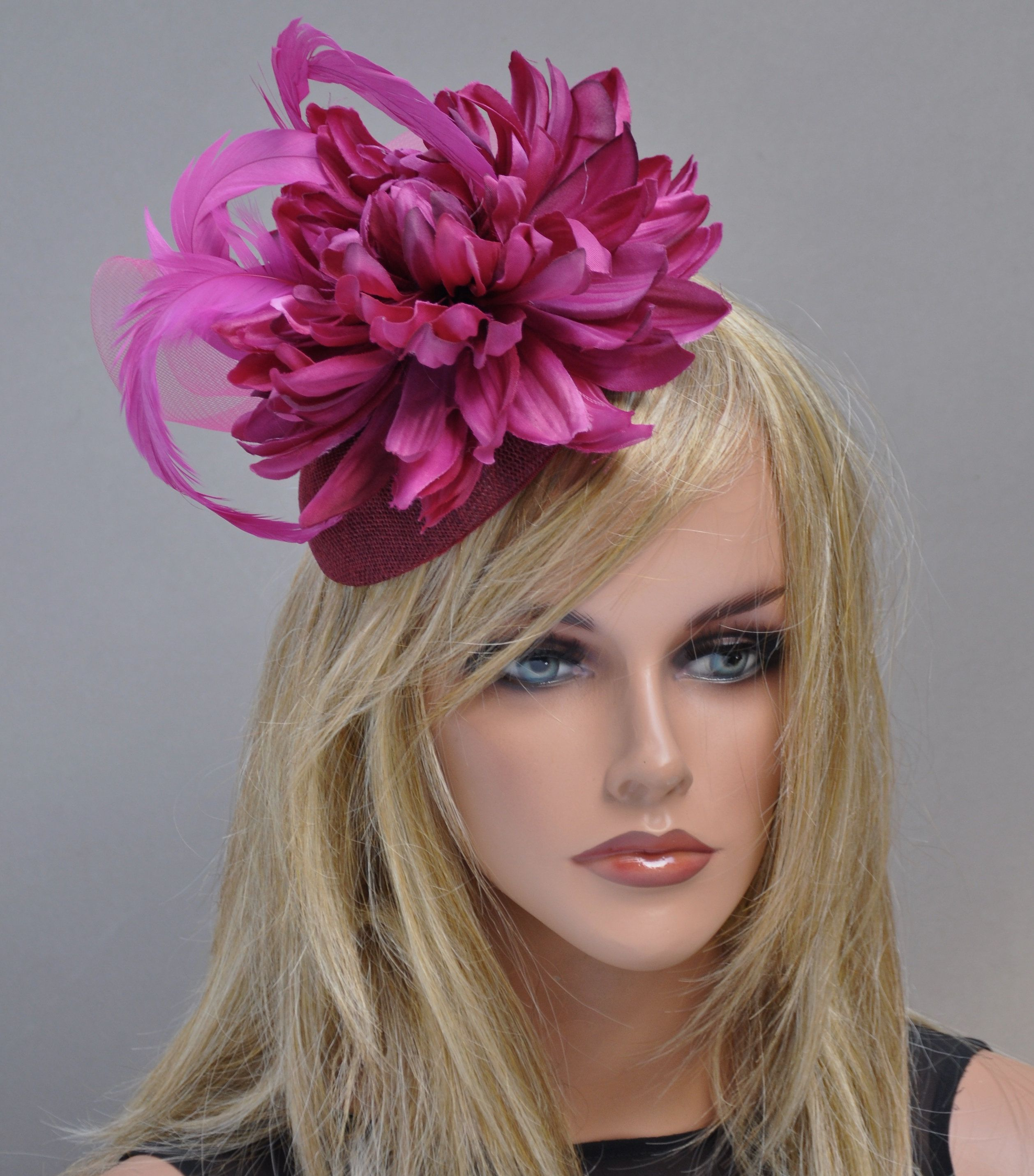 d5afe3669a3c7 AWARD MILLINERY DESIGNI made this raspberry fascinator hat headpiece in my  millinery studio in the Hollywood