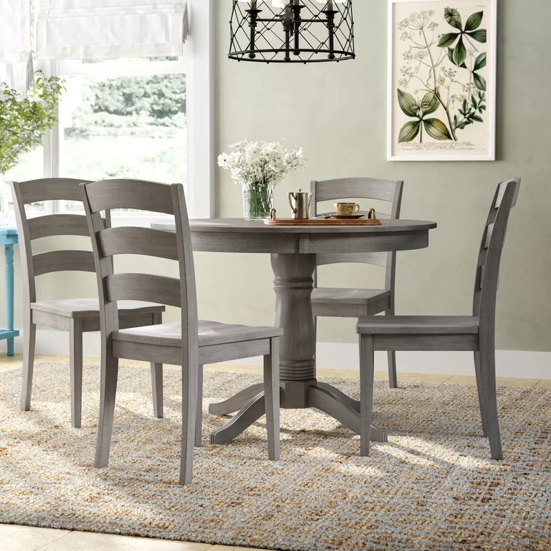 August Grove Alverson 5 Piece Dining Set Reviews Wayfair Small Dining Sets Solid Wood Dining Chairs Dining Room Sets