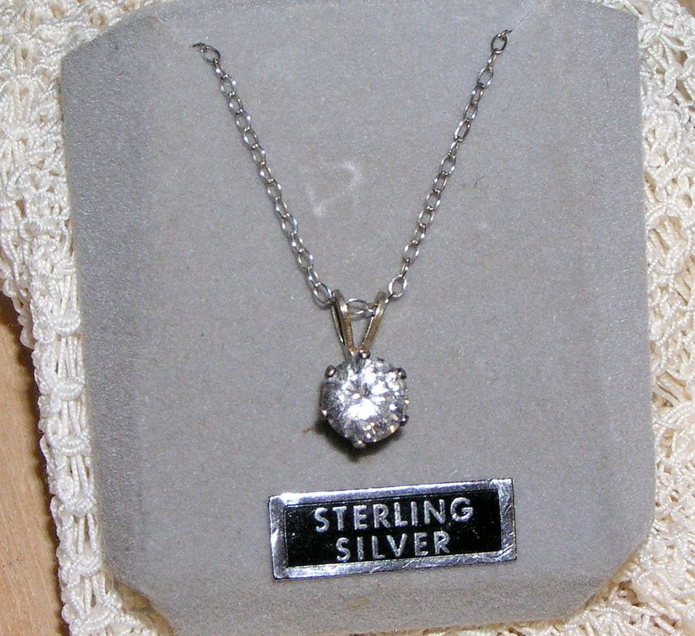 Sterling silver cubic zirconia solitaire pendant necklace signed nc