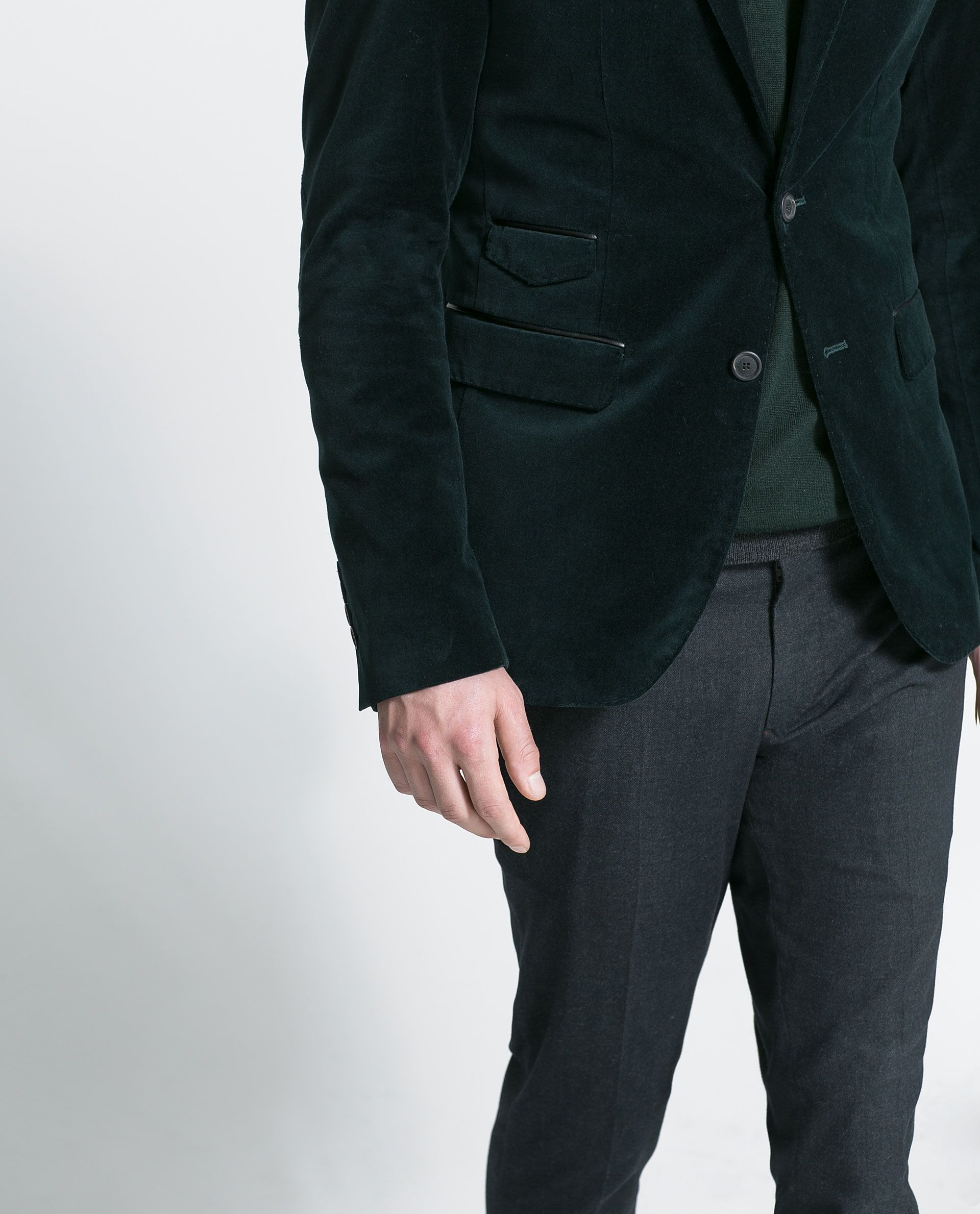 19c89bb75882 Zara Velvet Blazer in Green for Men (Duck green)