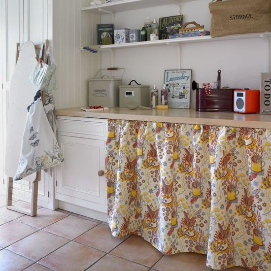 Curtain cover up country utility room ideas utility for Country laundry room curtains