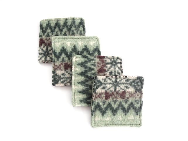 Green felt fair isle wool coasters £11.00 | September Stars ...