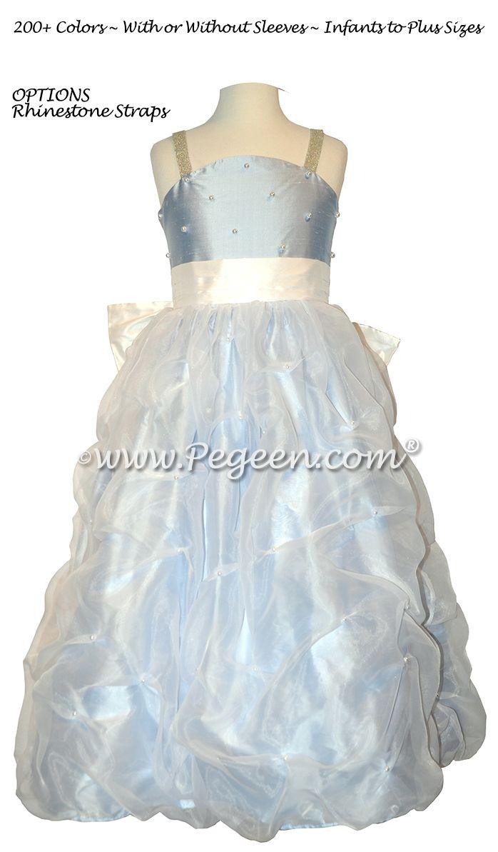 Blue And White Silk Flower Girl Dress By Pegeen Blue Flower